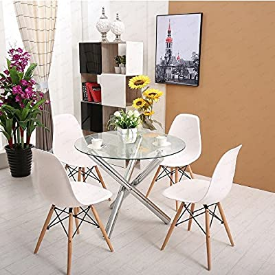 Schindora® Glass Round Dining Room Table Set and Chairs - cheap UK light shop.