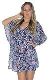 LA LEELA Super schiere leichte Chiffon 5 Unzen Badeanzug Frauen dehnbar Blumenweinlese-beiläufigen Kaftan plus Größe 4 in 1 Strand-Bikini-Vertuschung Tunika Lounge basic Kleid blau