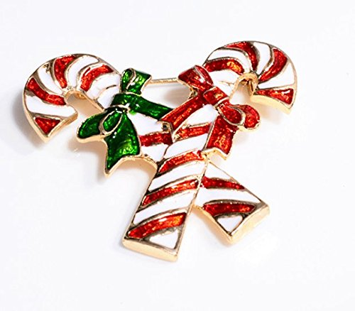 PrutX Lovely Christmas Candy Cane Brosche Strass Verdeckt Schals Schal Clip Creative Geschenke