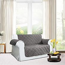 Cubierta de lujo para sofá | antideslizante | resistente al agua | lavable para cualquier estación fundas de sofá 1/2/3plazas, protector para sofá, Gris, (Two Seater ( 224 x 179 CM )