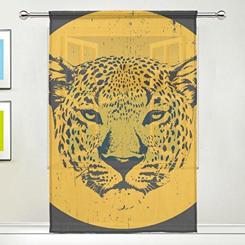 COOSUN Print Zeichnung von Leopard Sheer Vorhang Panels Tüll Polyester Voile Fenster Behandlung Panel Vorhänge für Schlafzimmer Wohnzimmer Wohnkultur, 55x78 Zoll, 1 Stück -