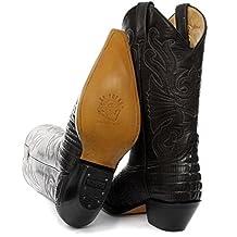 Molinillos de Carolina del negro botas de vaquero occidentales con el modelo de cocodrilo en empeine y la captura de los ojos de costura