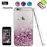 Atump Coque iPhone 6 Plus avec Protecteur d'écran, Diamant Liquide Paillette Transparente 3D Silicone Gel Antichoc Kawaii Étui Fille Personnalisé pour iPhone 6 Plus 5.5' / 6S Plus Rose Gold