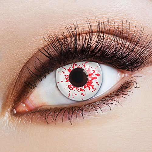 aricona Farblinsen Farbige Kontaktlinse Blood Splash   – Deckende Jahreslinsen für dunkle und helle Augenfarben ohne Stärke, Farblinsen für Karneval, Fasching, Motto-Partys und Halloween Kostüme