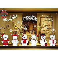 Yuson Girl Christmas Window Sticker, Christmas Wall Sticker DIY Lovely Bear Window Decal Christmas Wall Mural Snowflake Sticker