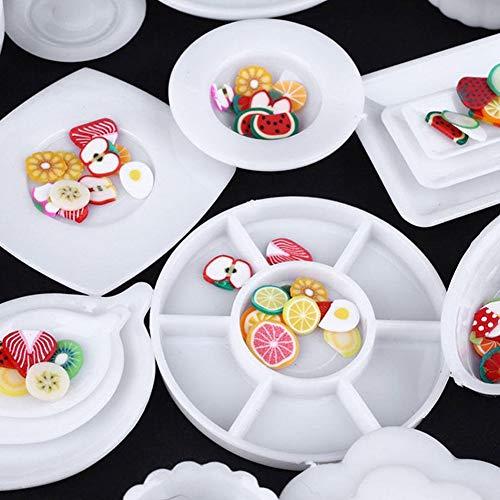 SparY Miniatura Stoviglie, 33 Pezzi Casa delle Bambole Plastica Piatto  Piatti Cucina Set Decorazione Pupazzi Cucina Accessori - Bianco, Free Size