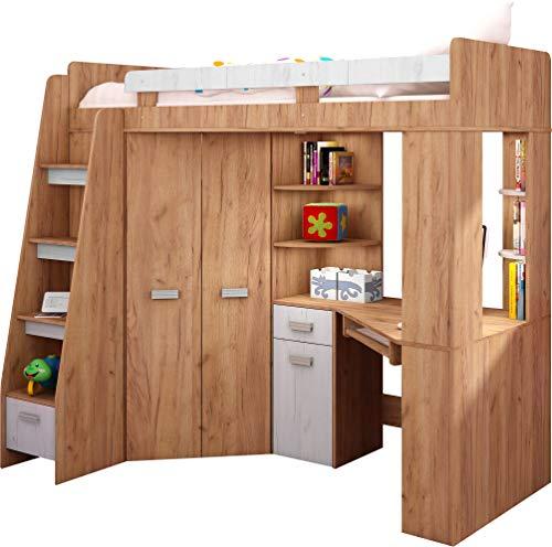 Hochbett/Etagenbett mit Treppe rechts oder links, alles-in-einem-Möbel-Set für Kinder mit Bett, Kleiderschrank, Regal und Schreibtisch Craft-gold/Craft-white - Left Hand-side Stairs. -