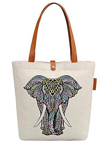 So'each Women's Animal Elephant Graphic Top Handle Canvas Tote Shoulder Bag