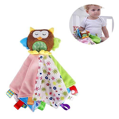 G-Tree Taggy Decken, Taggies Sicherheitsdecke - Soft Taggy Blankit Spielzeug für Baby-Boys & Girls - Lovey Plüsch Sinnes Spielzeug Beruhigt für Kleinkinder, Eule