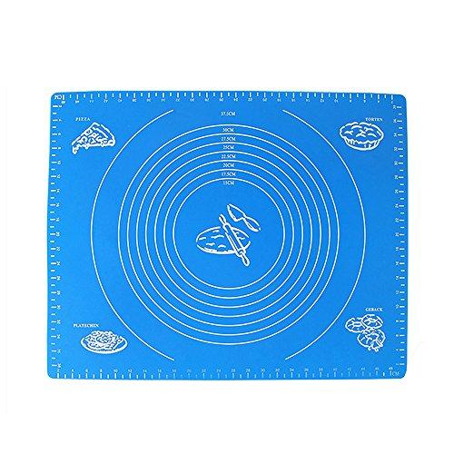 Silikon Matte, Silikon Ausrollmatte mit Maßeinheiten Backmatte ,Große Teigmatte für Ihre Pizza, Teig, Fondant, Pasteten (50 * 40 cm) - Blau