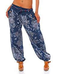 Moda Italy Damen Haremshose Pumphose Ballonhose Pluderhose Yogahose Aladinhose Harem Sommerhose mit Stoffgürtel Flower-Print