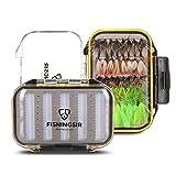 FISHINGSIR 64 Stück Forellen Angel-Fliegen Kunstköder Set -Fliegenbinden Material Fliegenfischen Fliegen, sortiert Fliegenfischen Köder mit doppelter Seite Wasserdicht Fliegen Box fischen zubehör