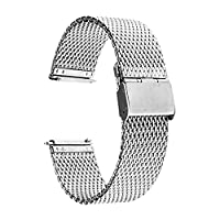 TRUMiRR 18mm Milanese Watch Band Quick Release Stainless Steel Strap for Huawei Watch, Asus Zenwatch 2 Women's WI502Q, Withings Activite / Steel / Pop,Silver