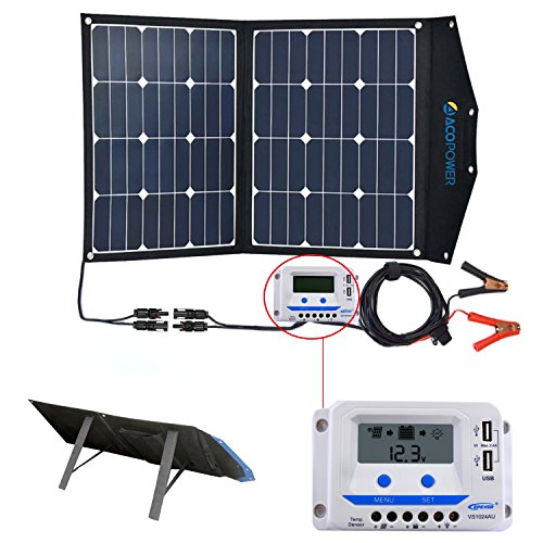 ACOPOWER 80W faltbares Solarmodule, 12V Solar-Ladegerät mit Laderegler mit USB Ladefunktion,Tragbares Solarpanel
