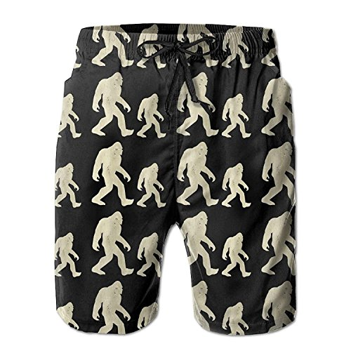 Bigfoot Hide and Seek Champion Funny Wood Men's Swim Trunks Printed Quick Dry Board Shorts X-Large Velvet Holiday-outfit
