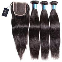 Peruvian Virgin Hair oisk®, con chiusura tipo 7A non trasformati capelli Weaves 3 sacchetti con tre parte 4 x 4, chiusura con prodotti di prolunga 100 g, 1B, Natrual