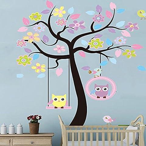 Docliick® Vinilos infantiles o decorativos de Buho sentado en columpio del arbol, para dormitorio de niño o niña, reutilizable, no deja