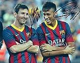 Lionel Messi Neymar fotografia firmato edizione limitata + stampato Autograph