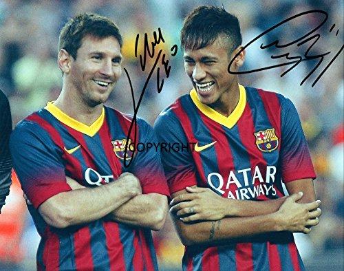 Edición limitada foto firmada de Lionel Messi Neymar (Cert impreso
