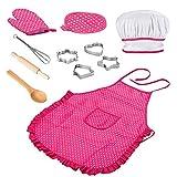 Anpole Anpole 11PCS Kochschürze Set für Kinder, Kinderkochset Kinder Kochen Spiel Küche Wasserdicht Backen Schürzen, Ofenhandschuh, Schneebesen, Ausstechformen Anzieh Kostüm Play Set für Mädchen
