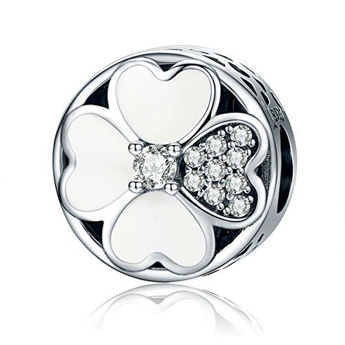 Chengmen Charms Jewellery smalto bianco quadrifoglio portafortuna in argento Sterling 925