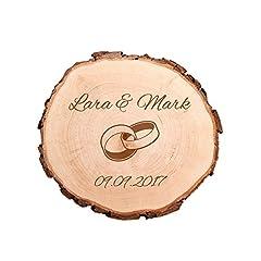 Idea Regalo - Casa Vivente Fetta di Tronco d'Albero Naturale con Corteccia - Incisione Personalizzata con Nomi e Data - Motivo FEDI Nuziali - Regali di Nozze Originali - Anniversario - San Valentino