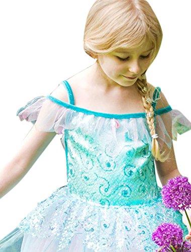 Confettery - Mädchen Karnevals Kostüm Kleid Aquamarin Fee , Türkis, Größe 98-110, 3-5 Jahre (Silber Pailletten Kurze Kleid Für Frauen)