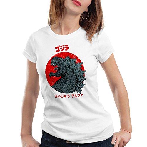 style3 Gojira T-Shirt da donna godzilla giappone nippon kaiju kanji tokio, Colore:bianco;Dimensione:S