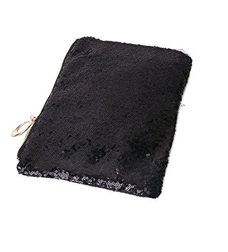 CC * CD Hochzeit Abend Party Luxus Glitzer Pailletten Clutch Handtasche Hand Tasche, PU, goldfarben, 25*16*6cm Schwarz