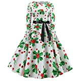 JERFER Women Vintage Print Long Sleeve Xmas Christmas Evening Party Swing Dress S-2XL Mid-Calf Dress