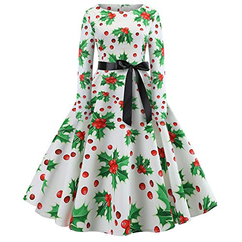 LOPILY Damen Weihnachten Kleid Christmas Kleid Dress Frauen Vintage Print Langarm Weihnachten Abend Party Swing Dress Party Kleider