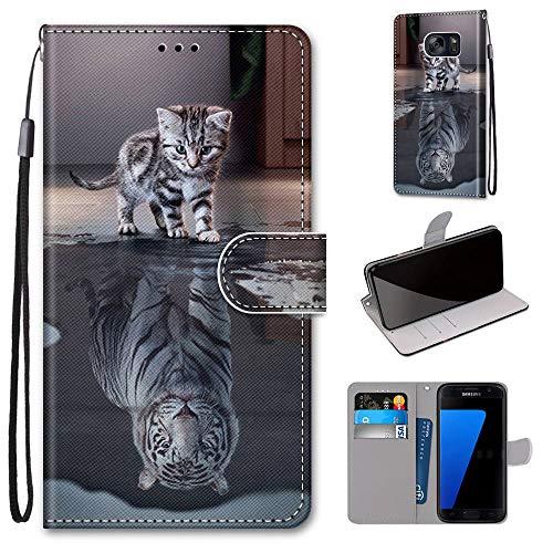 Miagon Flip PU Leder Schutzhülle für Samsung Galaxy S7,Bunt Muster Hülle Brieftasche Case Cover Ständer mit Kartenfächer Trageschlaufe,Katze Tiger