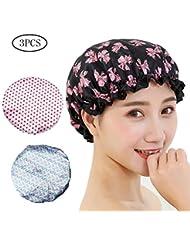 Bath Women Waterproof Elastic Lace Shower Bouffant Hair Bath Cap Hat Spa Protect Bathroom Hair Anti Water Bath Cap Shower Hats