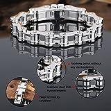 LDUDU® Herren Fahrradkette Motorradkette Armband Edelstahl Geschenk für Valentinstag Geburtstag Weihnachten, Farbe Silber, 20cm (nicht verstellbar) - 4