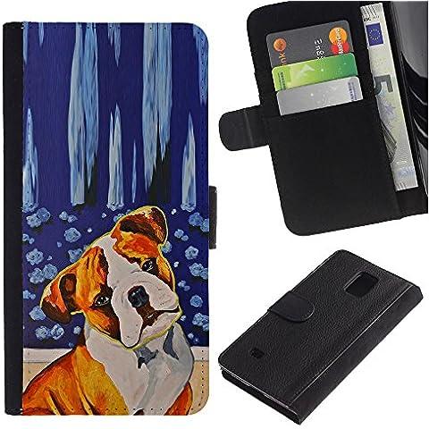 Red Fawn Boxer American Bull Terrier Dog - la tarjeta de Crédito Slots PU Funda de cuero Monedero caso cubierta de piel Samsung Galaxy Note 4 IV