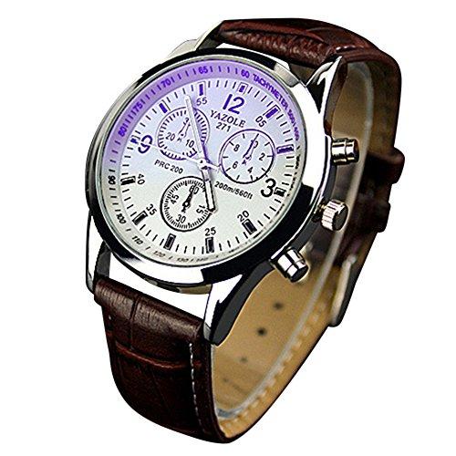 yazole Unisex Blue-Ray Armbanduhr Edelstahl Quarz Analog Armbanduhr-Braun Band weiß Zifferblatt