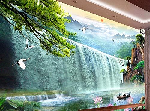 Kuamai Benutzerdefinierte Fototapeten Wasserfälle 3D Stereoskopische Wasserfälle Wallpaper Für Wohnzimmer Wandbilder Bauernhaus Stil-120X100cm