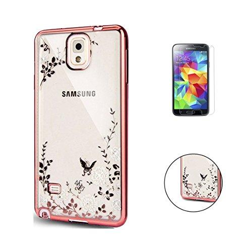 Preisvergleich Produktbild Samsung Galaxy S5 Hülle [Mit Frei HD Schutzfolie],CaseHome Weiße Blumen-Muster Ultradünnen TPU Fall [Geheimer Garten] Schmetterling Schutzhülle Kristall Löschen Bling Rose vergoldet Glitter transparent Silikon Tasche für Samsung Galaxy S5