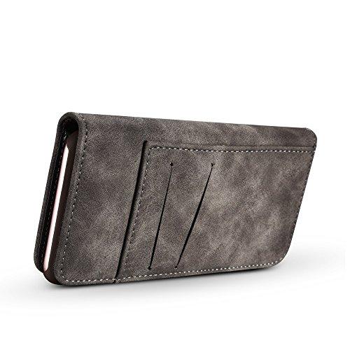 EKINHUI Case Cover Retro Style abnehmbare magnetische Leder Tasche mit großem Capard Card Cash Slots und Secure Niet Gürtelschnalle für iPhone 6 und 6s ( Color : Red ) Gray