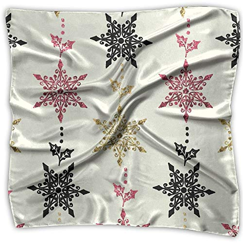 Golden Christmas Ornament Pattern Seamless Fashion Women Floral Printed Lady Square Scarf Head Wrap Kerchief Neck Satin Shawl
