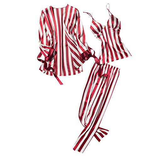 TYTUOO Damen Nachtwäsche Fashion Striped Pyjamas Bademantel Long Trousers Nightwear 3PC Set -