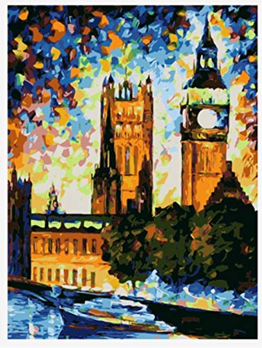 WAZHCY Malen Nach Zahlen Für Erwachsene DIY London Big Ben Bunte Sky Home Decor Mit Pinsel Acrylmalerei 40X50CM No Frame - Sky Home Decor