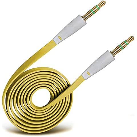 (Giallo) LG G3 3.5mm Jack a Jack Flat Cable AUX Cavo audio ausiliario piombo By Spyrox