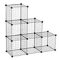 HOMCOM DIY 6 Cube Metal Wire Rack Interlocking Storage Cabinet Living Room Organiser Display Shelves Black