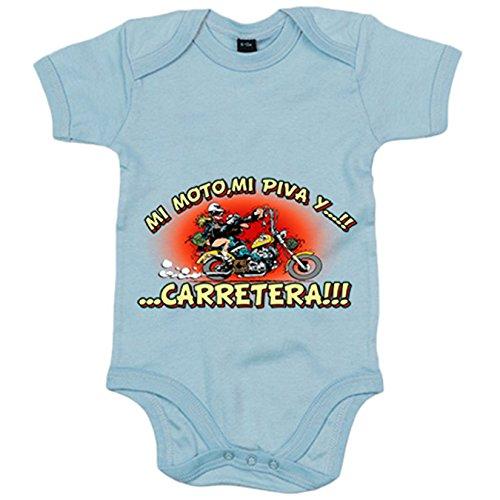 Body bebé mi moto mi piva y la carretera motero - Celeste, 6-12 meses
