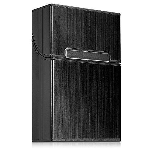kwmobile Zigarettenetui Zigarettenbox Hülle für Zigaretten - Aluminium Etui mit Magnetverschluss in Schwarz