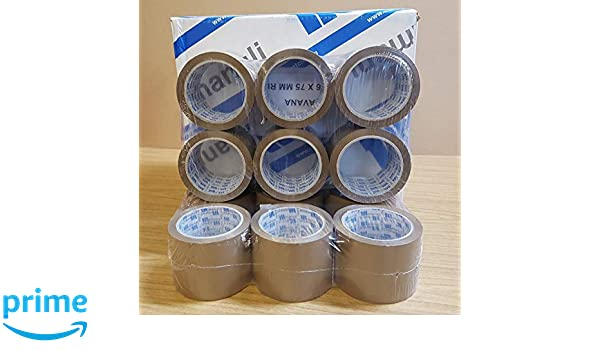 """x 66m MANULI Extra Wide Heavy Duty BROWN Parcel//Packing Tape 3/"""" 6 Rolls of 75mm"""