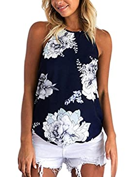 vovotrade 2017 Flores completas flor Mujer Verano Imprimir Camisa sin mangas Chaleco Tank Top Blusa Camiseta