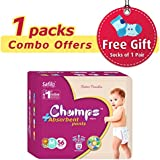 Champs High Absorbent Premium Pant Style Diaper (Pack Of 1)(Free 1-Pair Socks)| Premium Pant Diapers | Premium Diapers | Premium Baby Diapers | Anti-rash And Anti-bacterial Diaper | … (Medium, 56)