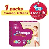 #7: Champs High Absorbent Premium Pant Style Diaper (Pack of 1)(Free 1-Pair Socks)| Premium Pant Diapers | Premium Diapers | Premium Baby Diapers | anti-rash and anti-bacterial diaper | … (Medium, 56)